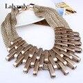 2017 mujeres de la vendimia collar de lujo exagerado collar collar de las mujeres de color oro collar de cadena del metal de la resina Al Por Mayor XL61821