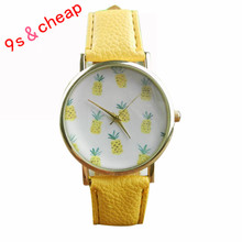 2017 Hot Sale Cute Pineapple Fruit Watches Women Ladies QuartzWatch Fashion Casual Leather Analog Wristwatch montre femme#290717
