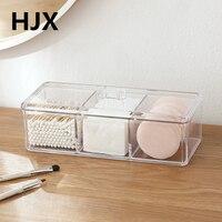 HOT Popular Clear Acrylic Cotton Swab Box Casket Makeup Organizers Jewelry Storage Case Desktop Storage Box