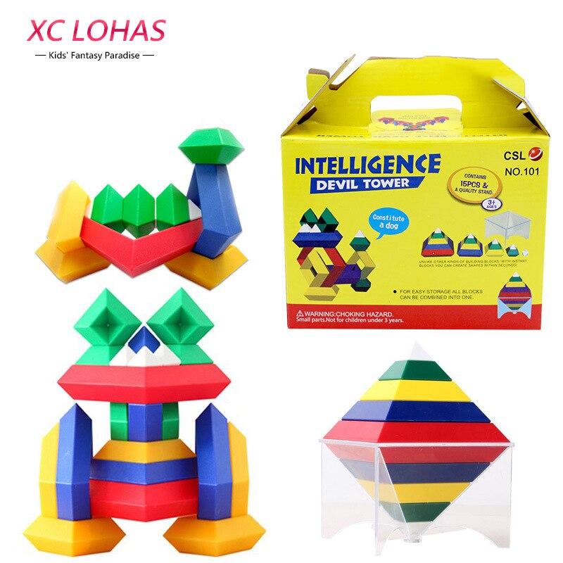 15pcs Set Geometric 3d Building Blocks Tower Pyramid Cube