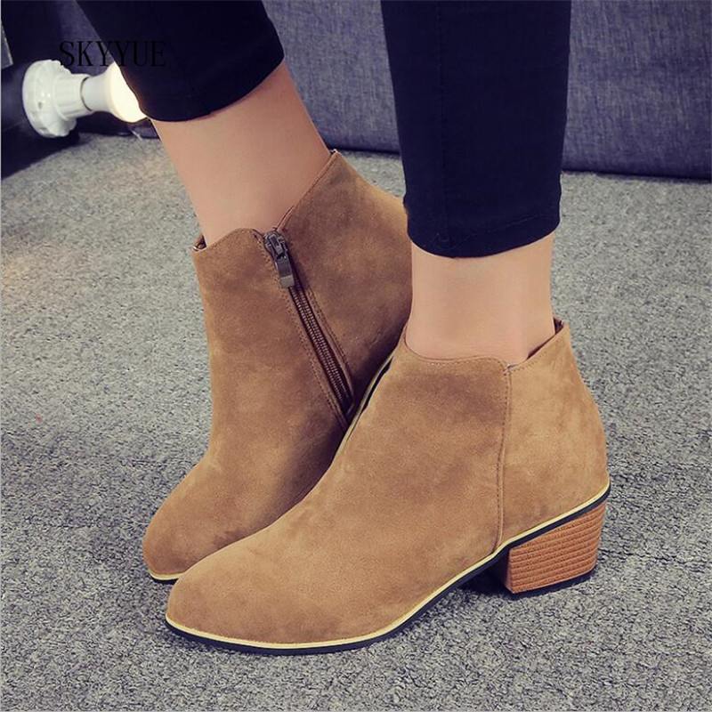 2018 New Autumn Winter Women Boots Suede Female Side Zipper Martin Boots Vintage Fashion Ankle Boots Free Shipping ...