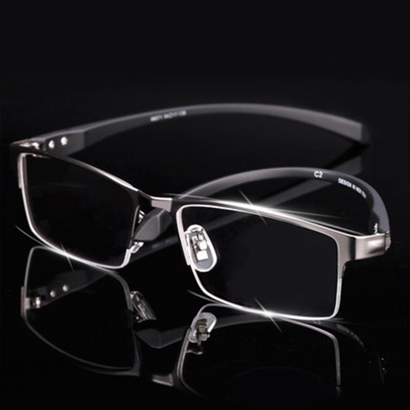 Eyeglasses Frame Temples-Legs Half-Rim Men Eyewear Titanium-Alloy Flexible for Ip-Electroplating
