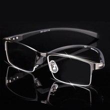 גברים טיטניום סגסוגת משקפיים מסגרת לגברים Eyewear גמיש מקדשים רגליים IP אלקטרוליטי סגסוגת חומר, שפה מלאה שפה חצי