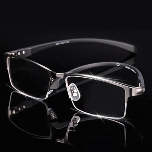 Ultra-Lightweighted Men Titanium Alloy Eyeglasses Frame for Men Eyewear Flexible Temples Legs IP Electroplating Alloy Material