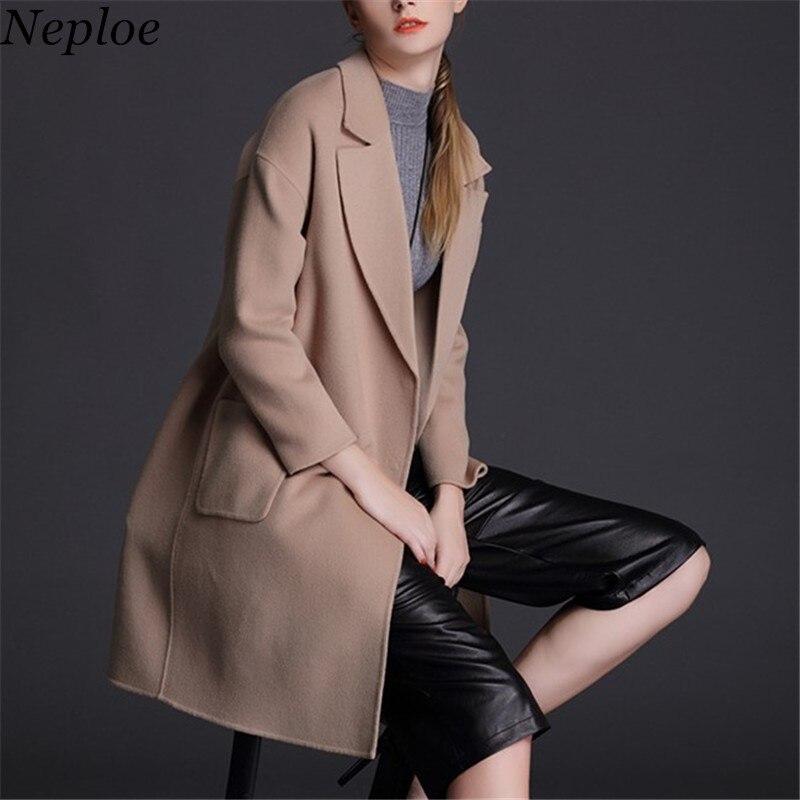 Laine Mélange Camel Boutonnage Coréenne Hiver Light Épais Mode Manteau Abrigo 2019 Poches Neploe 68560 Mujer Solide Longue Vestes Double Entaillé 4x0HvZwqP
