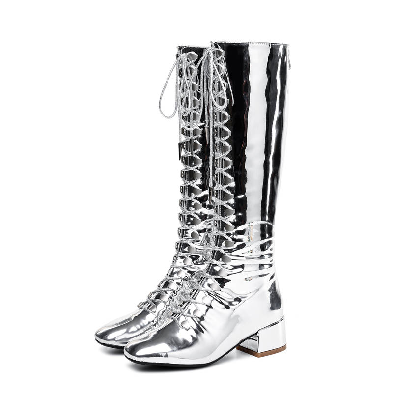 Ayakk.'ten Diz Hizası Çizmeler'de MORAZORA 2020 yeni stil diz yüksek çizmeler kadın dantel kadar + zip punk patent deri bayan botları kare ayak sonbahar çizmeler rahat ayakkabılar'da  Grup 2