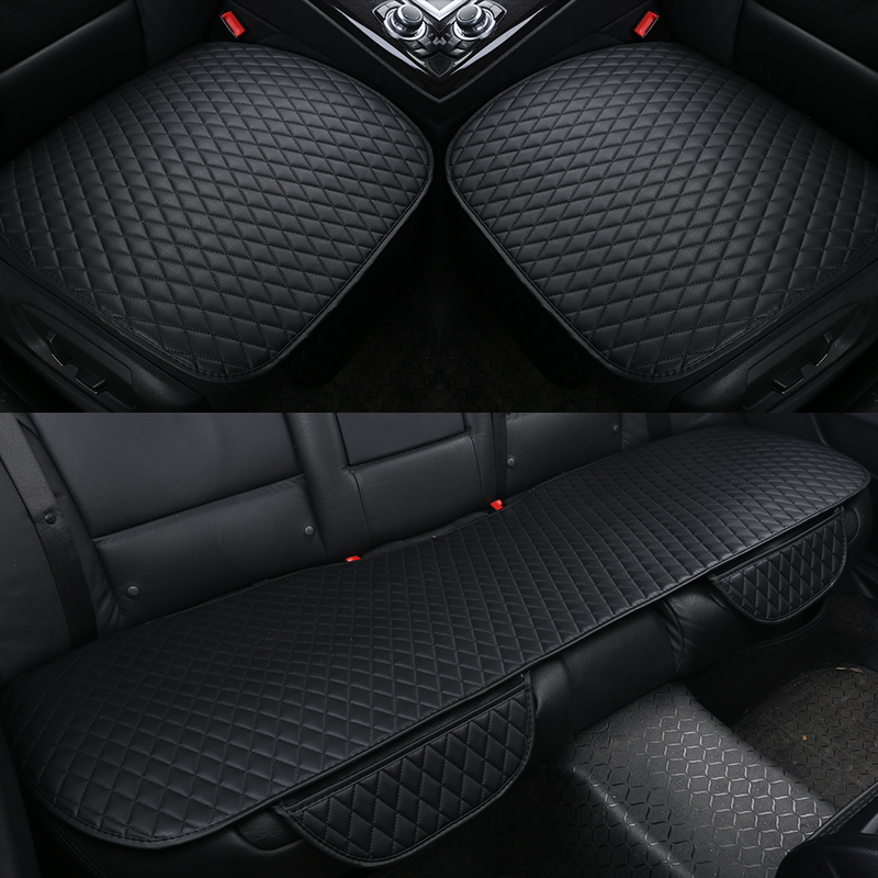 GSPSCN 1PC Pu Leather Car Seat Covers Cushion Four Seasons General Car Seat Cushions Car Front Back Seat Covers Fit All Car Size