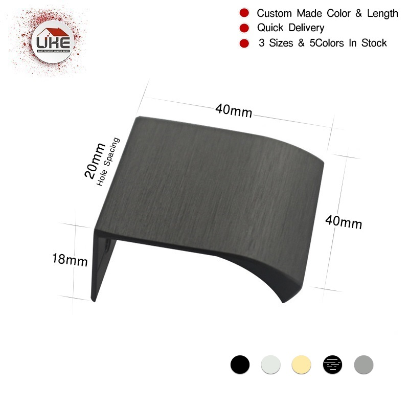Free Shipping UKE Matt Black Brushed Brass Hidden Furniture Kitchen Drawer Handles