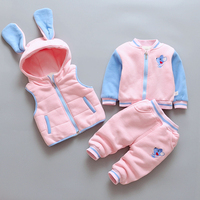 2018 Winter Baby Girl Cotton padded Thicken Warm Vest+coat+pant Clothing Sets 3pcs Comfortable Warm Velvet Winter Suit for Girls