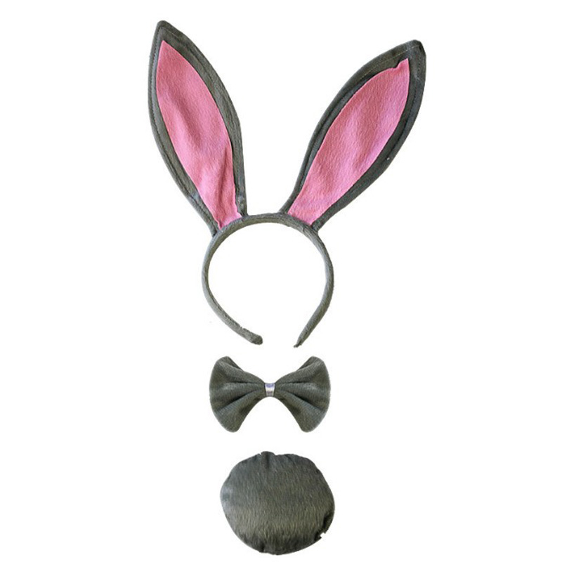 TIE AND TAIL SET ADULTS CHILDRENS FLUFFY FANCY DRESS EASTER BUNNY RABBIT EARS