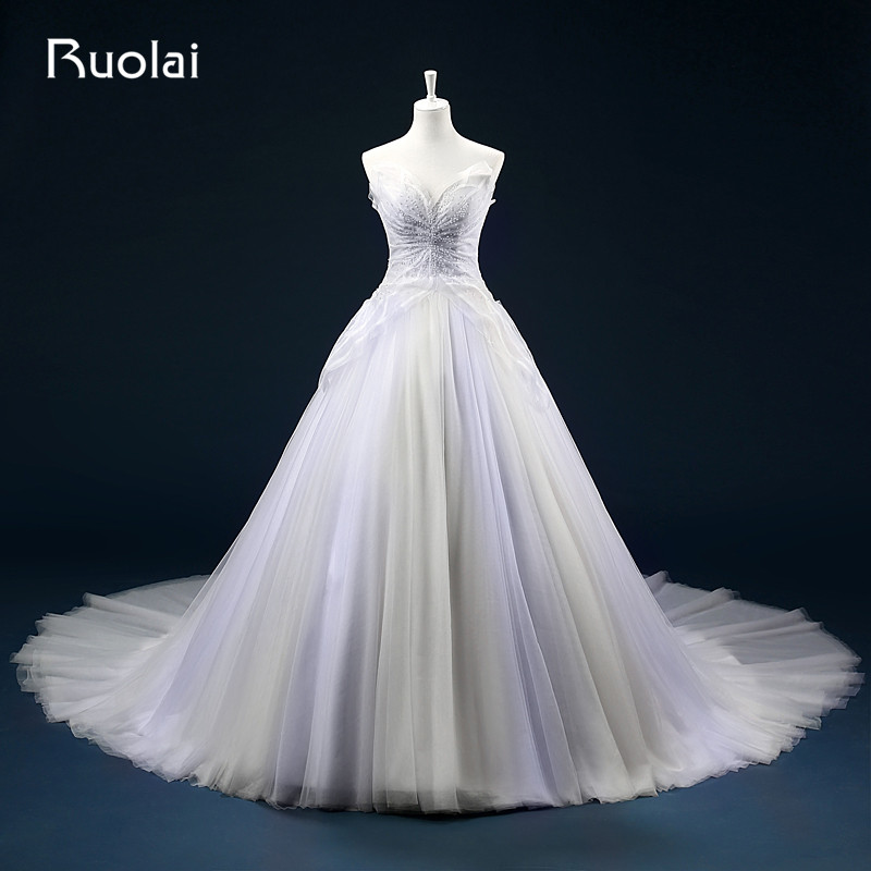 Ruching Wedding Gowns: Real Princess Ball Gown Sweetheart Tulle Beaded Bodice