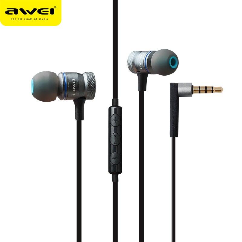 Awei ES-70TY 3,5mm Aux Audio In-ohr Kopfhörer Metall Schwere Bass Sound Musik Headset Mit Mic Fone De Ouvido Kopfhörer für Telefon