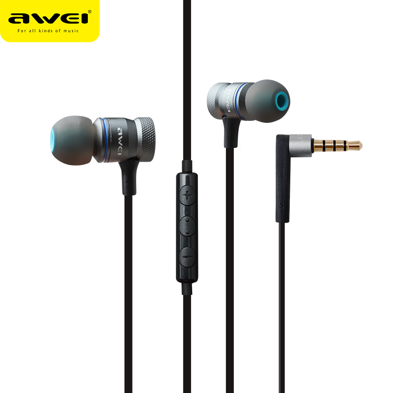 Awei ES-70TY 3.5mm Aux Audio In-Ear Earphone Metal Heavy Bass Sound Music Headset With Mic Fone De Ouvido Earphone For Phone awei es q5 red