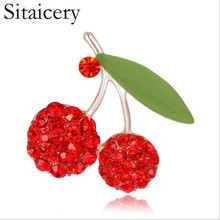 Sitaicery Red Enamel Brooches For Women Kids Cherry Brooch Corsage Small Bouquet Hijab Pins Feminino Party Bag Dress Accessories