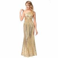 LE CELEBRE Gold Pailletten Schulter Lange Formale Kleider 2018 Bodenlangen Hochzeit Pageant Brautjungfer Kleider Elegantes Party-kleid