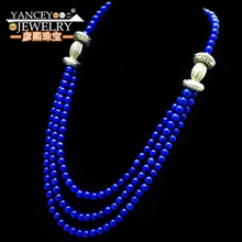 YANCEY 2019 New 3 rows Beautiful lapis lazuli Fine jewelry Long Necklaces for women  Retro S925 Silver pendants