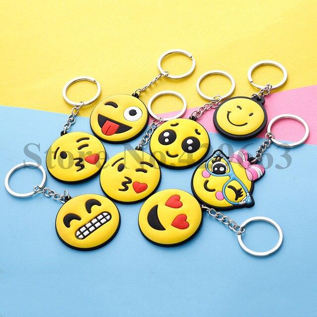 20 pçs/lote Emoji Chaveiro de Borracha PVC Emoticon Face Emoji Chave Saco Cadeia Chaveiro