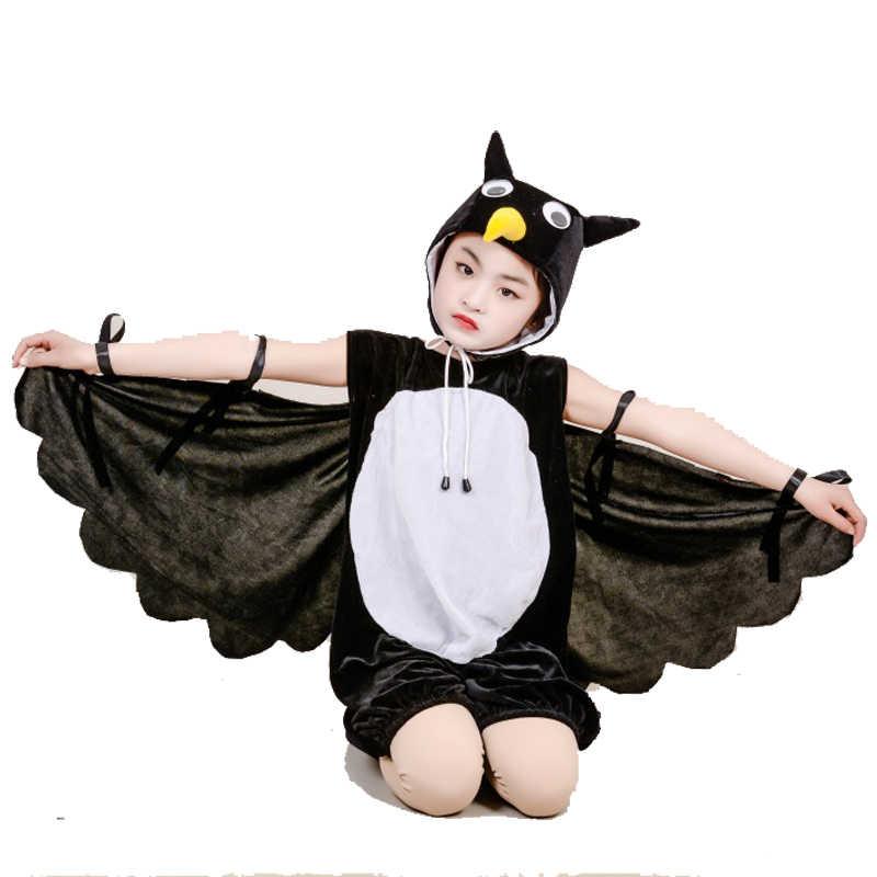Детский костюм черной вороны и совы, настоящий маскарадный костюм на Хэллоуин, карнавальное платье для костюмированной вечеринки с животными, комбинезон