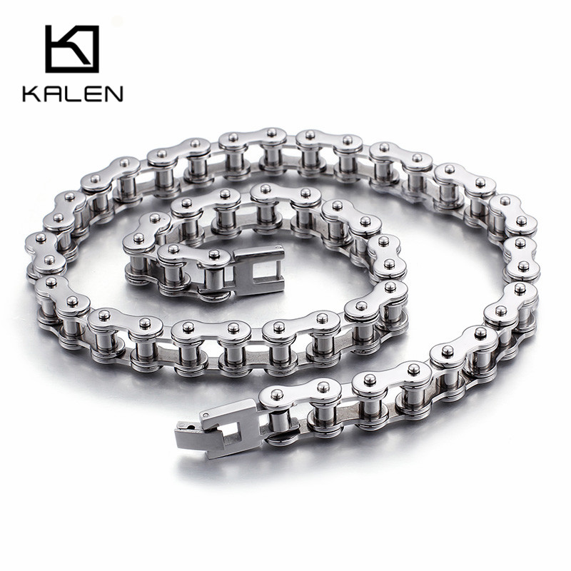 Kalen Good Quality 316L Stainless Steel 53cm Long Chain Necklaces For Men High Polished Bike Chain Necklaces Male Jewelry 2018