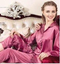 100% silkworm silk long-sleeved pajamas matching suit 1517