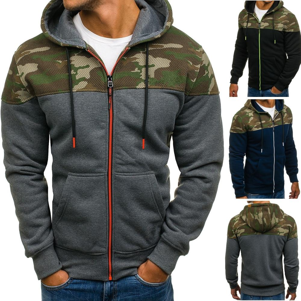Zogaa Men Sports Casual Wear Zipper Army Green Fashion Tide Jacquard Hoodies Fleece Jacket Fall Sweatshirts Autumn Winter Coat