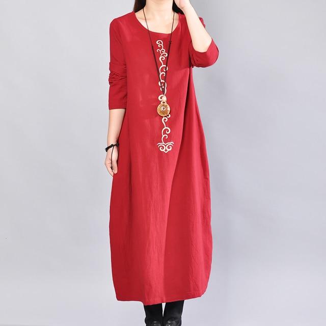 P Ammy  Cotton & Linen Plus Size Retro Plain Mid-Long Dress lagenlook  voguees Trend long shirts linen tunics