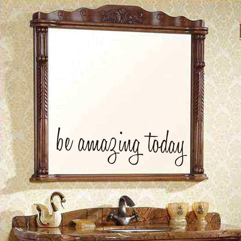 Be Amazing Today Quote Waterproof Wall Stickers For Toilet Bathroom Mirror Decor Wall Art Decals Home Decoration Accessories Pakistan