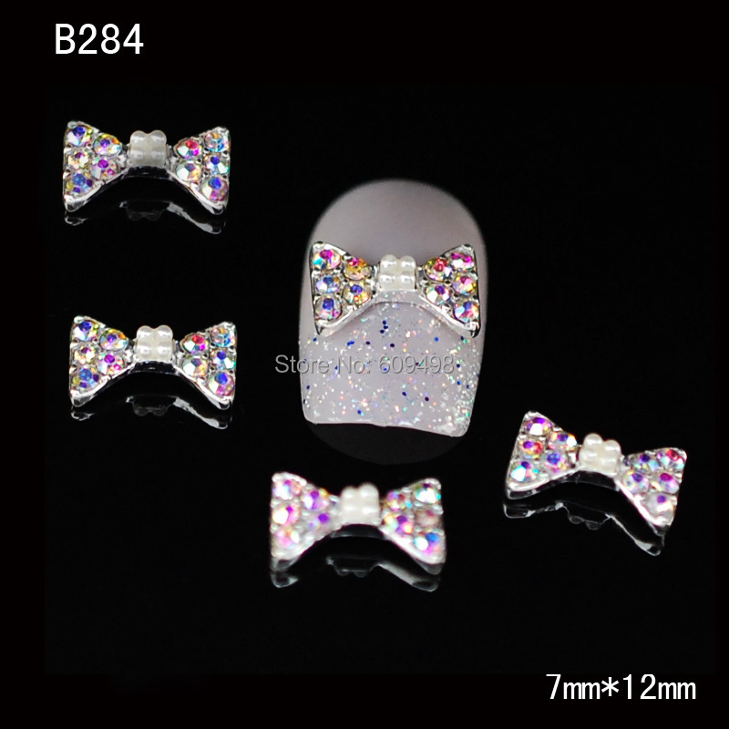 B284 50 шт./лот ногтей металлический сплав 3 D прозрачный кристалл AB алмаз бантом галстук-бабочка yakeli салон ногтей быстрое оформление