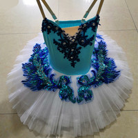 New Blue Bird Performance Ballet Tutu Swan Lake Pancake Tutu Child Leotard Ballet Dress Ballerina Girl Dance Clothing