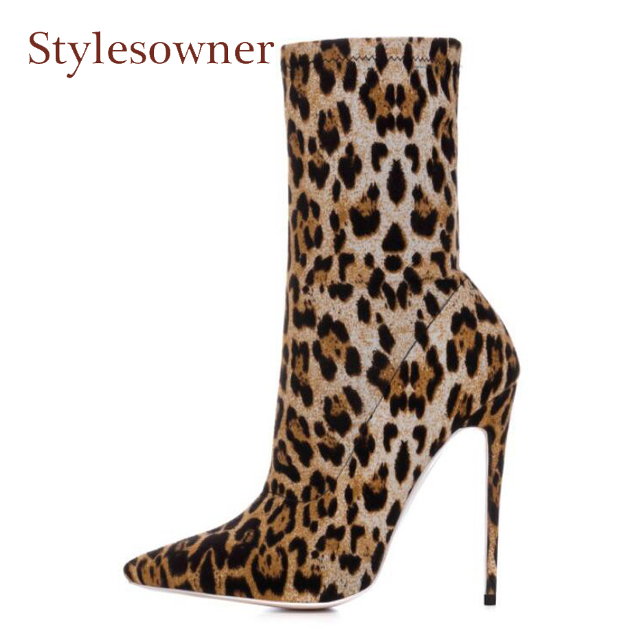 Stylesowner plus size woman leopard print short boots sexy pointed toe thin high heels ladies boots slip on stretch shoes boots slip on winter boots stretch lycra