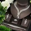 HIBRIDE винтажный комплект ювелирных изделий из циркона, объемное освещение, камень, большой свадебный и юбилейный комплект из 4 предметов, оже...