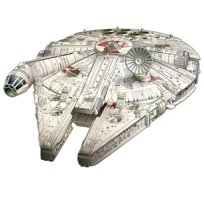 Star Wars Millennium Falcon Navire Papier 3D DIY En Métal Modèle Puzzle Miniature Échelle Kits de Construction Jouet Passe-Temps des Adultes Milieu Universitaire (lot de 5)
