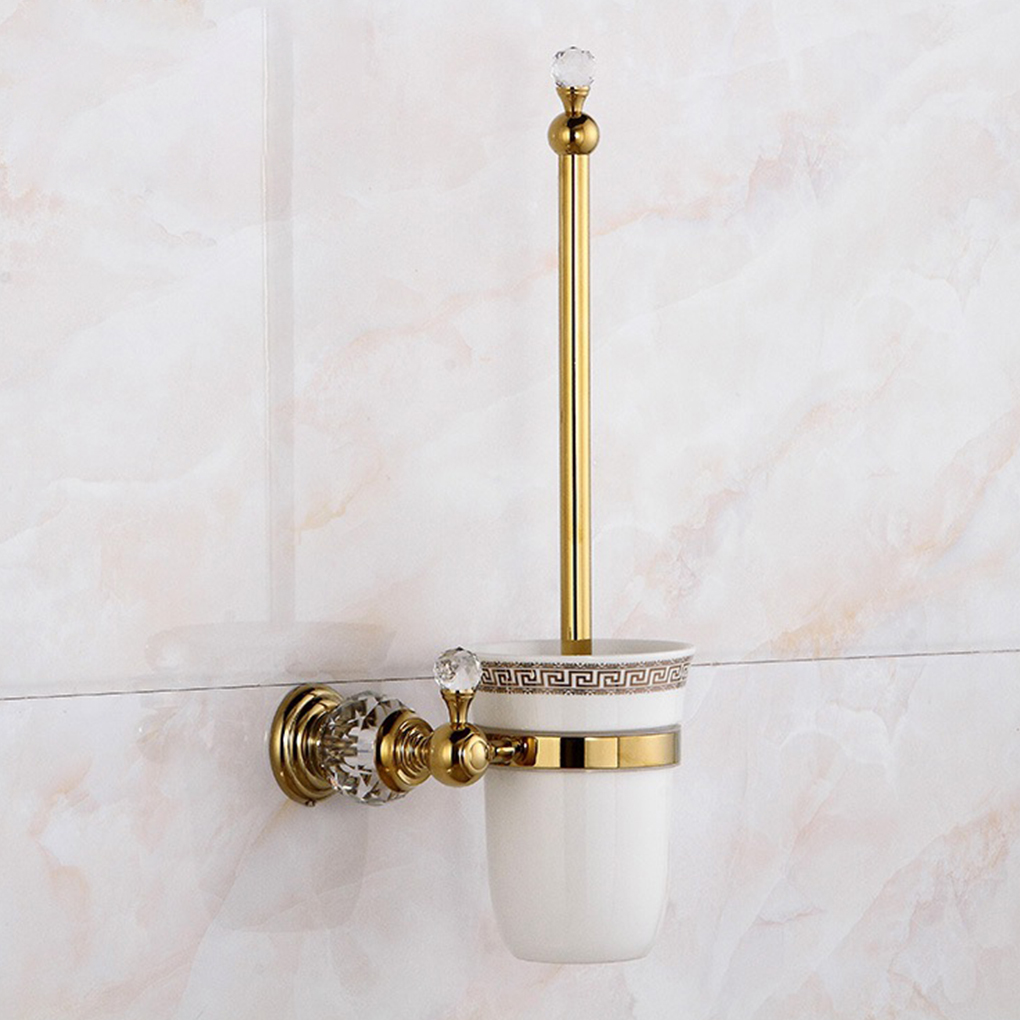 Brass Crystal Toilet Brush Holder Wall Mounted Bathroom Brush Ceramic Cup Holder Set simple bathroom ceramic wash four piece suit cosmetics supply brush cup set gift lo861050