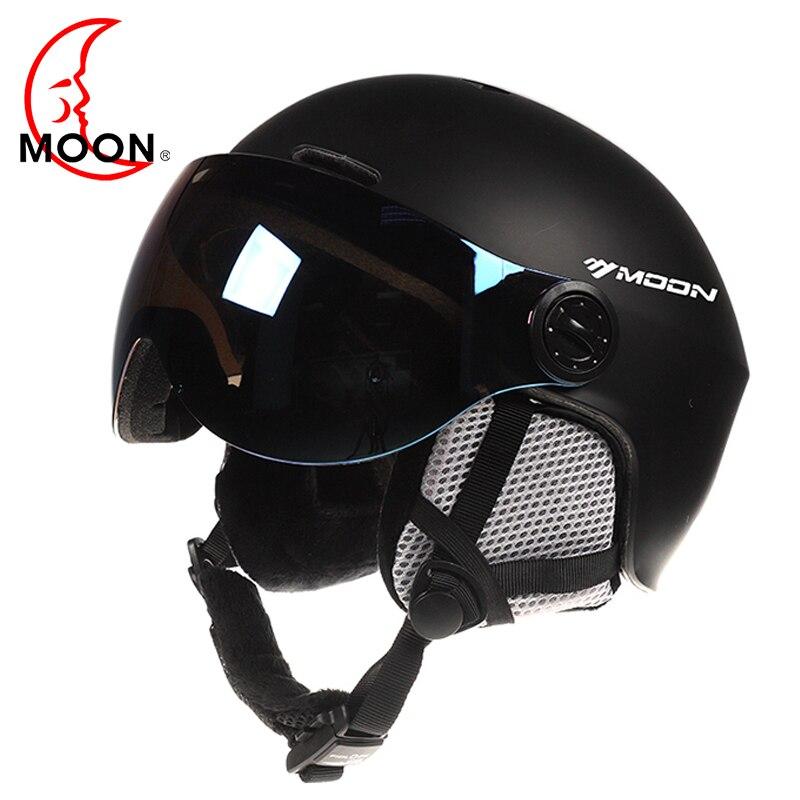 Luna gafas de esquí casco moldeado integralmente de PC + EPS CE certificado casco de esquí deportes al aire libre de esquí Snowboard skate cascos