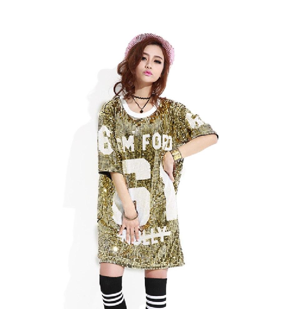 Costume hip hop T Shirt Lunga Paillette Disco D oro Paillettes Maglietta  Vestido Donne Jazz Allentati Abiti Da Ballo di Abbigliamento di Moda in  Costume ... ab9e933148dc