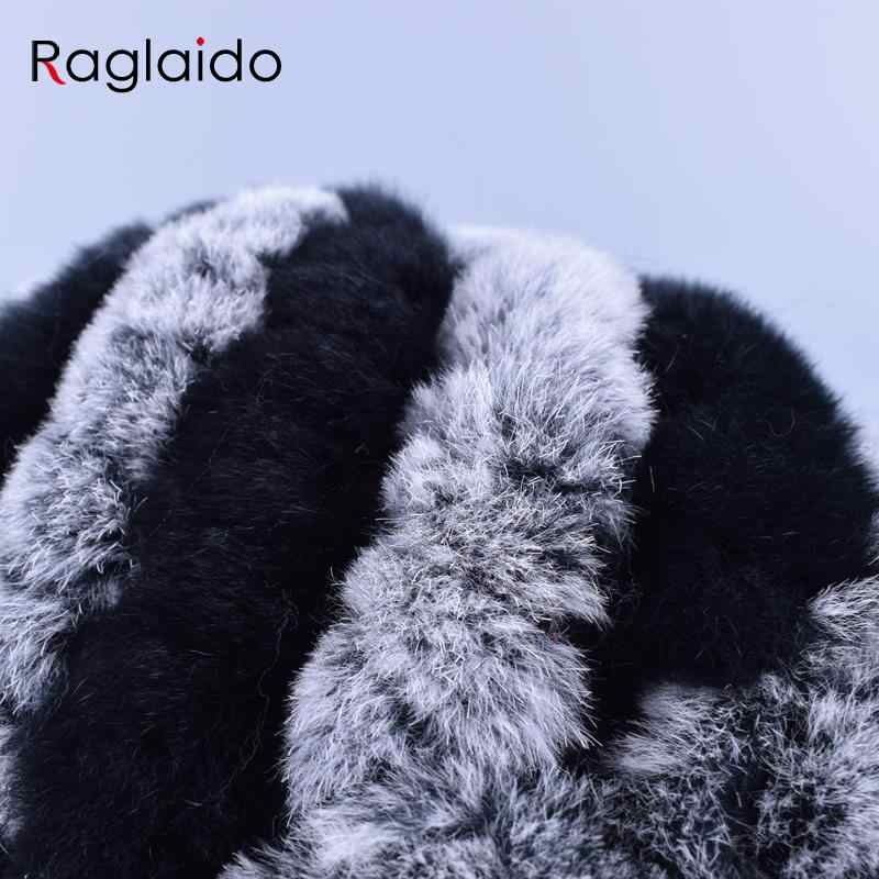 Raglaido 7 colori cappelli di pelliccia di Inverno per le donne Reale Del Coniglio di Rex Floreale signora Beanie Cappello A Mano a maglia Lavorato A Maglia Berretti di Pelliccia LQ11174