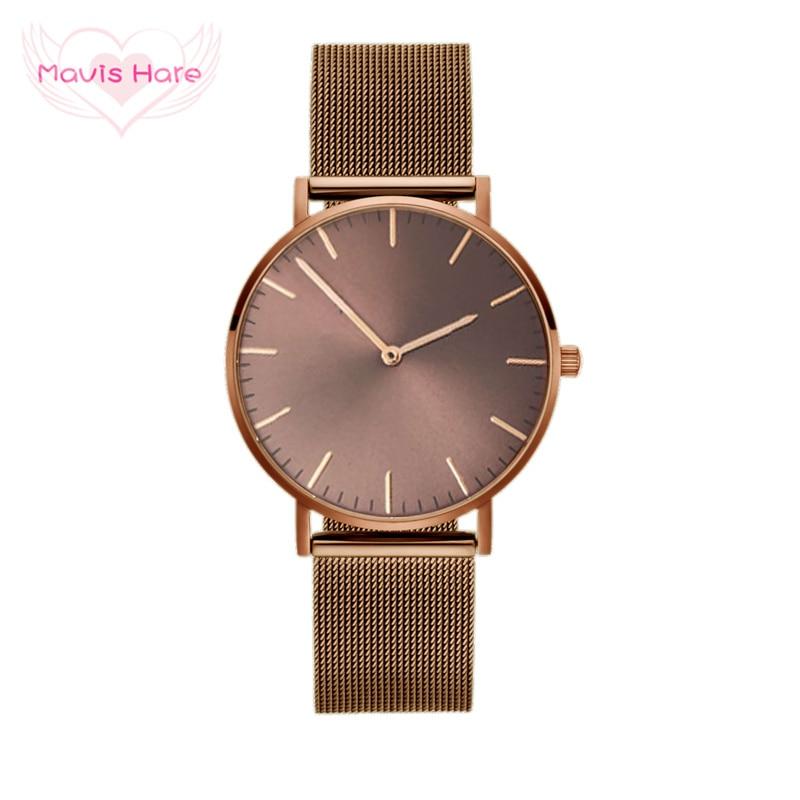 Mavis Hare KHAKI KAFFEE Mesh Armbanduhr Frau/Mann Uhren mit Edelstahl Gelb-Braun Khaki Farbe Mesh Bands als beste geschenk