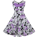Women's Vintage Sexy V-Neck Sleeveless Flower Print Stretchy Cotton Blend Tunic Big Swing Ball Gown Party Dress