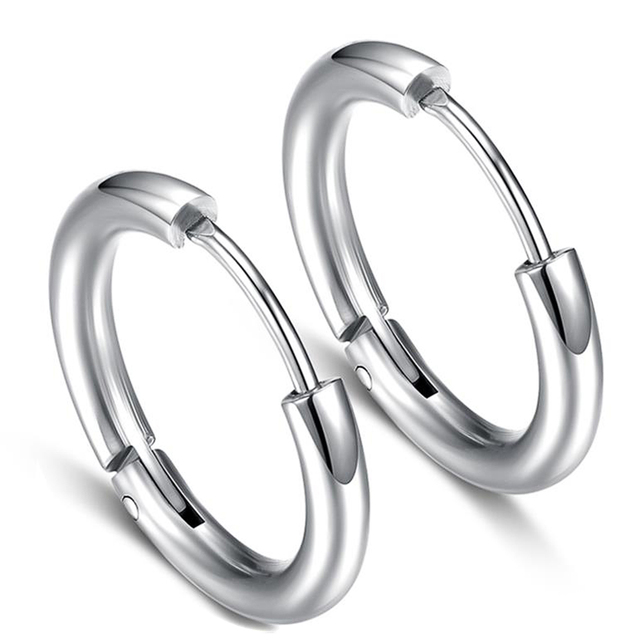 Shard Stainless Steel Hoop Earrings Punk Style Man Woman Fashion Jewelry Round Silver Black Gold Body