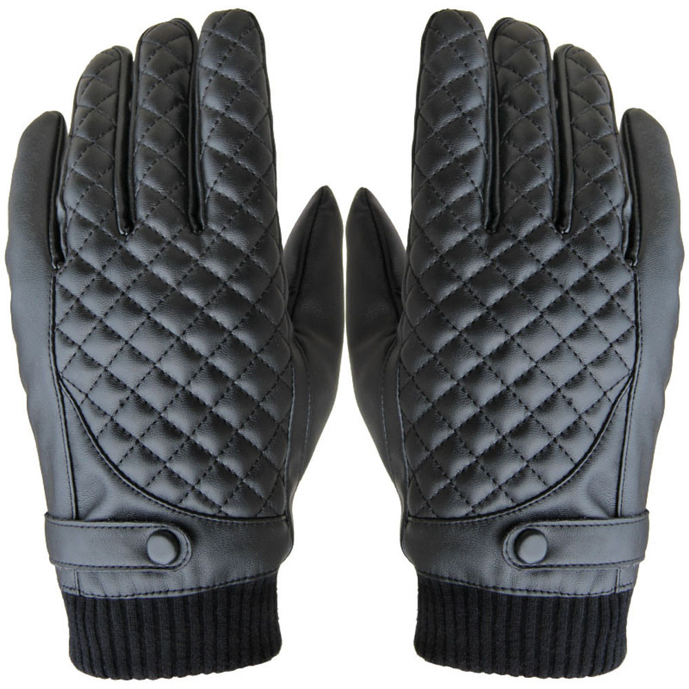 Synthetic leather driving gloves - 2016 Thermal Winter Male Artificial Leather Short Gloves Black Men Screen Gloves Casual Man Mittens Guantes
