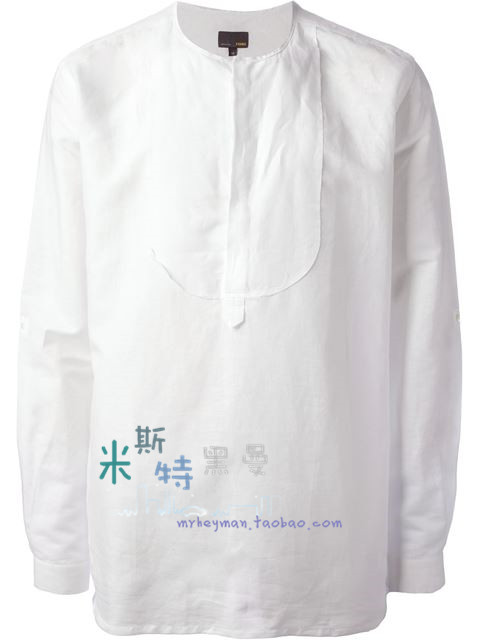 Mens white collarless shirt south park t shirts for Collarless white shirt slim fit