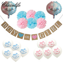 Chicinlife 1Set Boy or Girl foil balloon Banner he or she balloon birthday Party Baby Showers Gender Reveal Party Decoration
