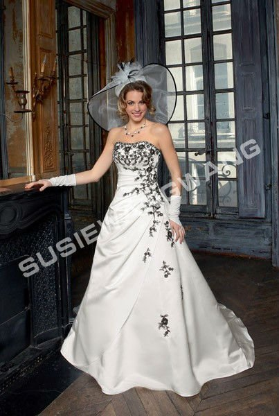 angel's love! wholesale custom made simple line scoop pattern a-line court train wedding bridal dress
