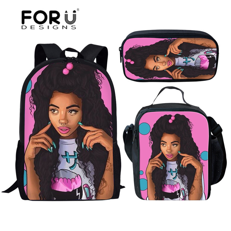 FORUDESIGNS Black Art Afro Lady Girls School Bags For Kids 3pcs School Bag Set Children Preppy Bookbags Students School Rucksack