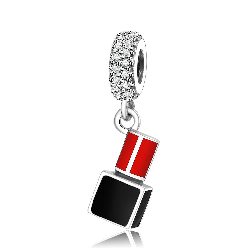 Lápiz Labial Plateado Plata Encanto Colgante Europeo pulseras
