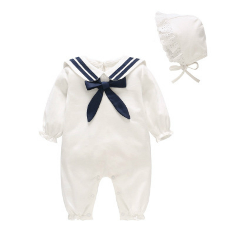 Newborn Infant Unisex Rompers High Quality 2019 Cotton White Long Sleeve Jumpsuit Navy Style Fashion Cute Baby Romper SetNewborn Infant Unisex Rompers High Quality 2019 Cotton White Long Sleeve Jumpsuit Navy Style Fashion Cute Baby Romper Set