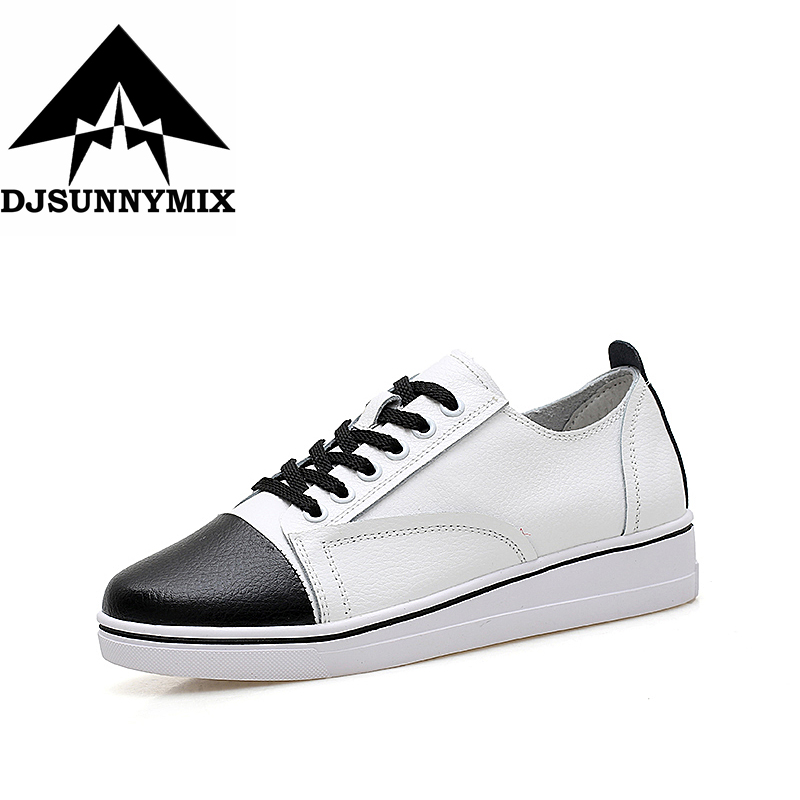 DJSUNNYMIX Brand NEW Women Flats Shoes genuine Leather Female Casual sneakers Women shoes