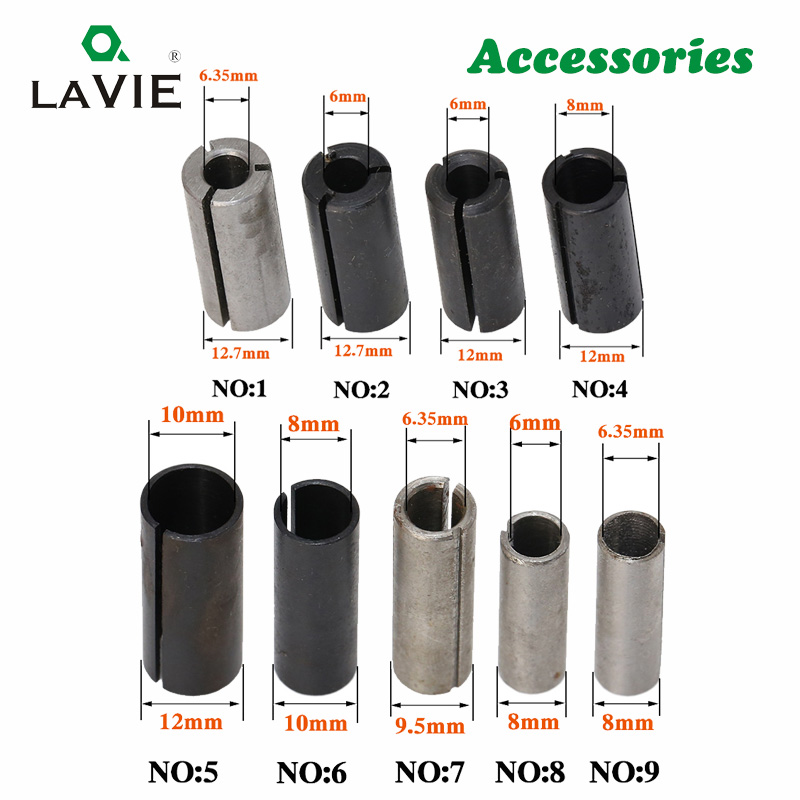 LA VIE 1pc CNC Router Bit High Precision Adapter Collet Milling Cutter Tool Adapters Holder 6mm 6.35mm 8mm 10mm 12mm 12.7mm 4001