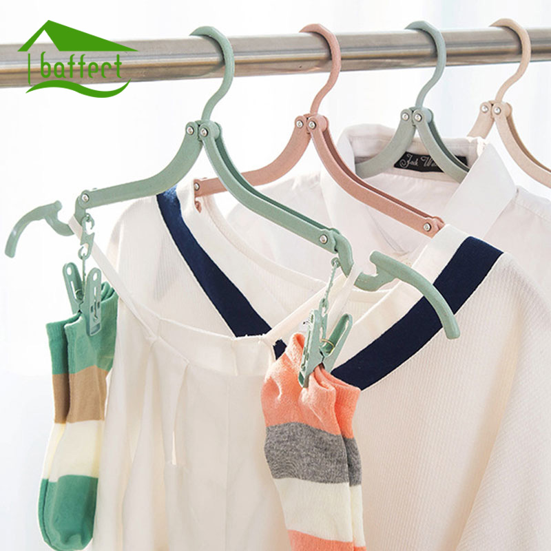 4Pcs/Lot Multifunction Plastic Magic Adjustable Foldable Clothes Holder Drying Rack Clips Hanger Travel Hanger Clothes Organizer
