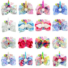 8  Hair Bow Large Sequin Unicorn Cheer Bows Glitter Print Bands For Girls Boutique Pompom Clip Accessories